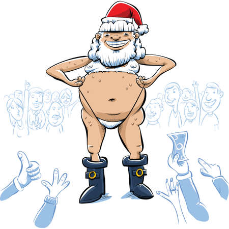 nude man: The crowd cheers as a sexy cartoon Santa Claus strips for them.