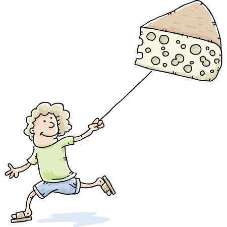 A cartoon woman using her Swiss Cheese as a kite.