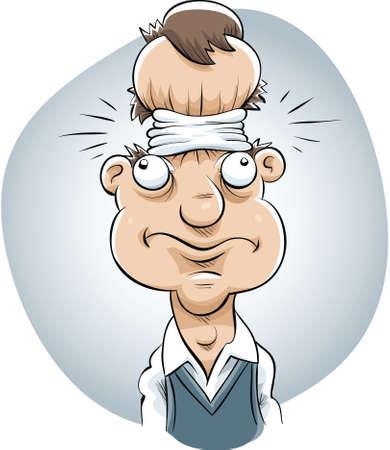만화 남자의 머리가 꽉 밴드에 의해 압착된다.