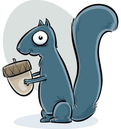 A furry cartoon squirrel, holding an acorn.
