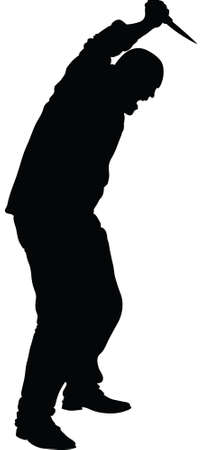 stab: Silhouette of a man with a knife about to stab. Illustration