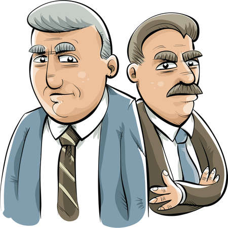 tough: Two serious, cartoon businessmen ready to get tough. Illustration