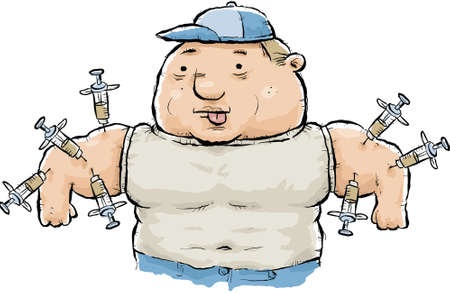 A muscular, cartoon man with steroids being injected into his arms. Vector