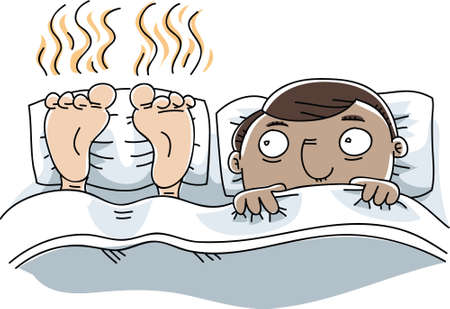 unpleasant smell: A cartoon man is unable to sleep because of the stinky feet next to him.