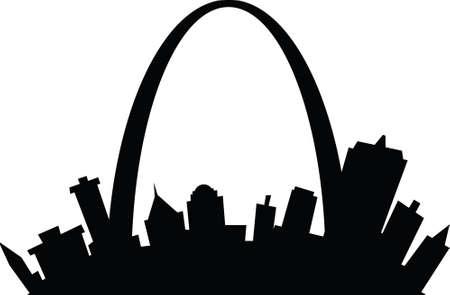 Cartoon skyline silhouette of the city of St. Louis, Missouri, USA.