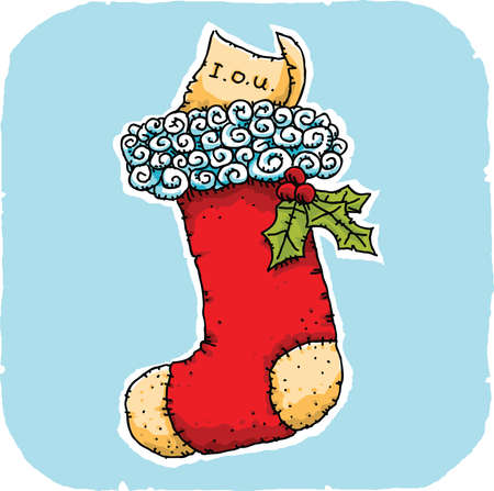 christmas debt: A cartoon stocking with an IOU instead of a present. Illustration