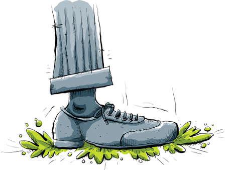 Een cartoon voet stampt op sommige groen slijm. Stock Illustratie