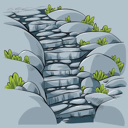 stone steps: Cartoon stone steps leading down a path.