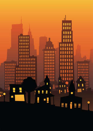 smoke stack: Cartoon view of a big city from residential to downtown at sunset.