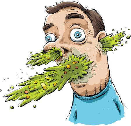 Vomit explodes from a mans face. Ilustração