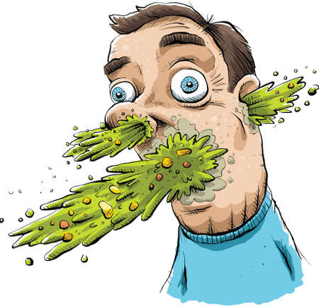 nausea: Vomit explodes from a mans face. Illustration