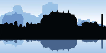 supreme court: Silhouette of the Canadian Supreme Court building and area in Ottawa. Illustration