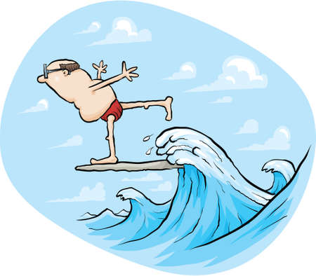 A cartoon man balances as he surfs a wave.