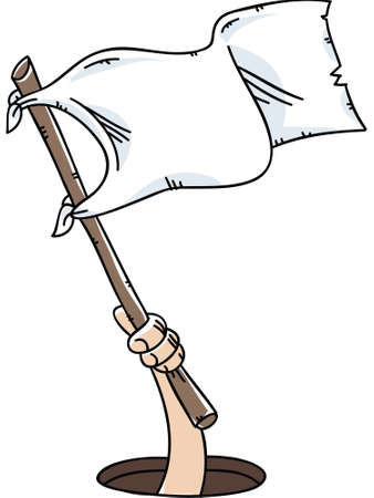surrender: A cartoon hand holds and waves a white flag of surrender.