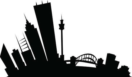 도시의 시드니, 뉴 사우스 웨일즈, 호주의 만화 스카이 라인 실루엣. 일러스트