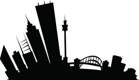 business district: Cartoon skyline silhouette of the city of Sydney, New South Wales, Australia. Illustration