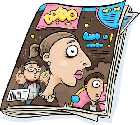 A cartoon tabloid glossy magazine with stories about celebrities on the cover. Illustration