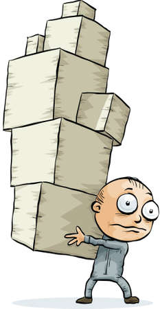 carrying: A cartoon man carrying a tall pile of cardboard boxes. Illustration