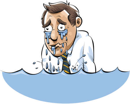 A cartoon man drowning in a lake of his own tears. Çizim