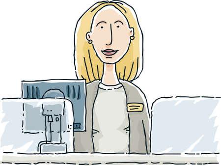 A cartoon bank teller, waiting to help.