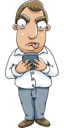 telephone cartoon: A cartoon man texting on his mobile telephone.