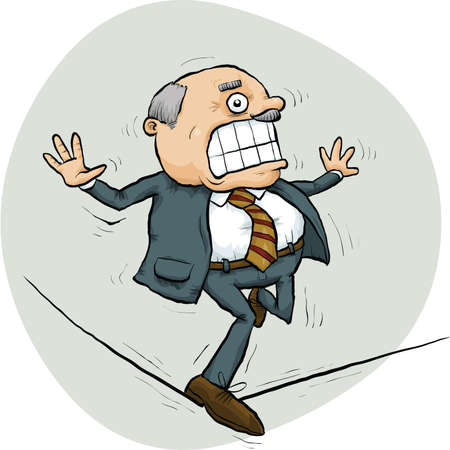 A cartoon businessman struggles to balance on a tightrope.
