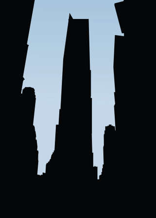 new york city times square: Skyline silhouette with signs of Times Square in New York City, USA. Illustration