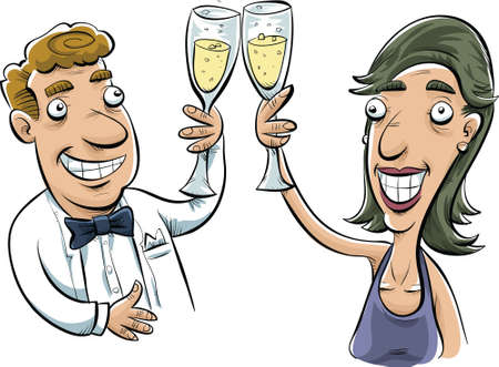 A couple in formal dress toast with glasses of sparkling wine.