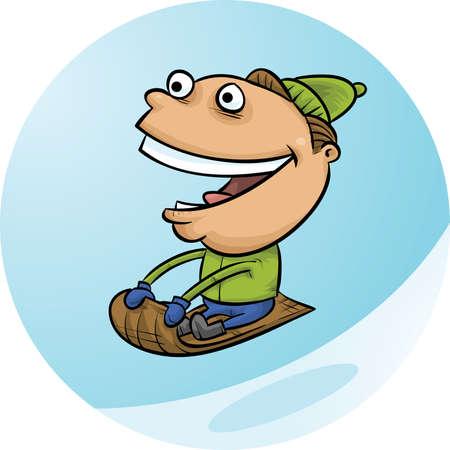 A cartoon man rides a toboggan down a winter hill. Illusztráció