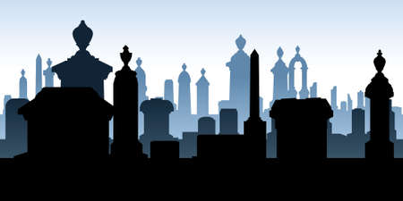 churchyard: Silhouette of tombstones in a spooky graveyard. Illustration