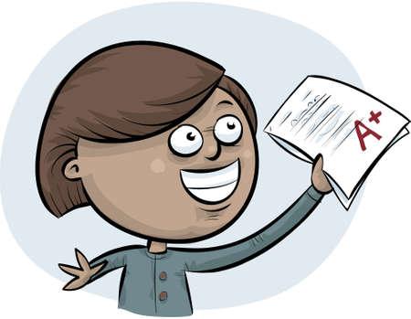 A cartoon student celebrates a top A+ mark on her exam. Vettoriali