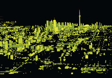business district: Abstract skyline silhouette of the city of Toronto, Ontario, Canada.