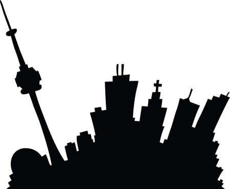 toronto: Cartoon skyline silhouette of the city of Toronto, Ontario, Canada. Illustration