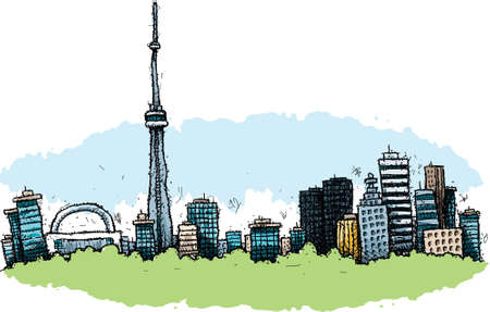 Cartoon of the downtown of the city of Toronto, Ontario, Canada. Vector