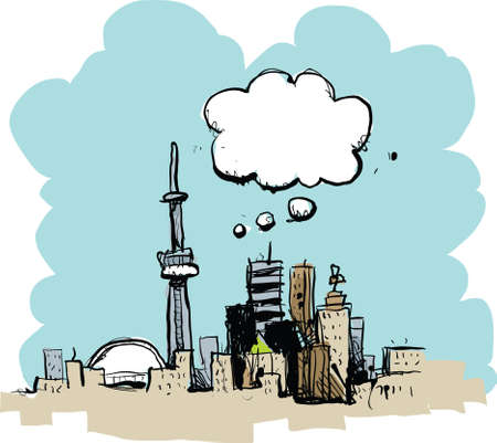 toronto: Cartoon of the downtown of the city of Toronto, deep in thought.