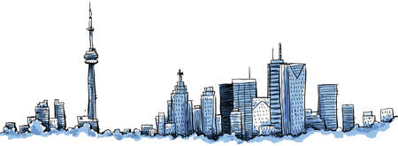 toronto: Cartoon of the downtown of the city of Toronto, Ontario, Canada. Illustration