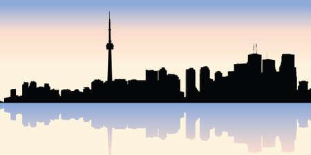ontario: Silhouette skyline del centro di Toronto, Ontario, Canada.