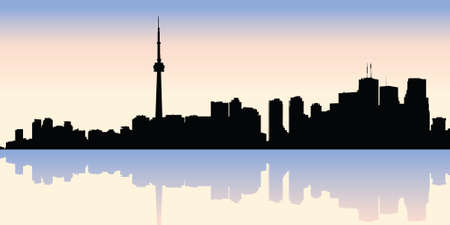 ontario: Skyline silhouette of downtown Toronto, Ontario, Canada. Illustration