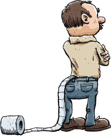 caught: A cartoon man unaware that a roll of toilet paper is caught in his pants.