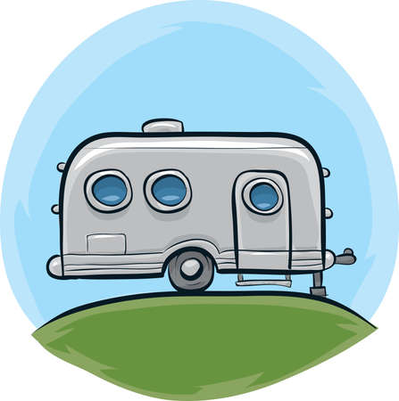 rv: A retro, cartoon steel trailer on a hill.