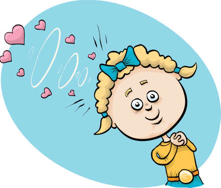 A little cartoon girl uses mental telepathy to transmit mind waves of love.
