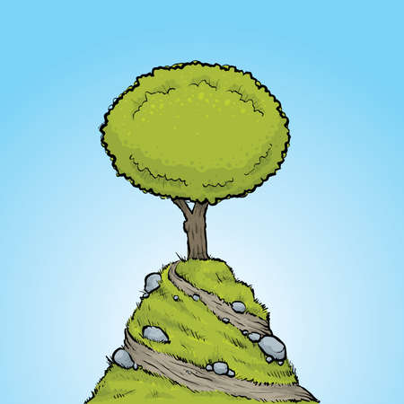 hill top: A cartoon tree at the top of a hill. Illustration