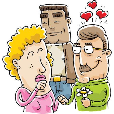 漫画の女性の愛の三角形の彼女の役割をについて思いを巡らせます。 写真素材 - 29718897