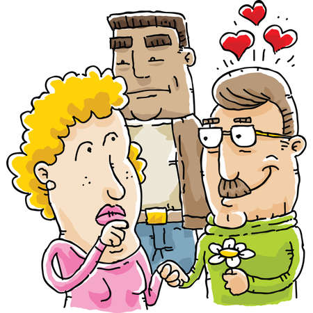 A cartoon woman ponders her role in a love triangle. Vector