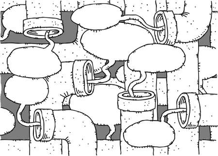 talking: Speech bubbles coming from a cluster of talking tubes. Illustration