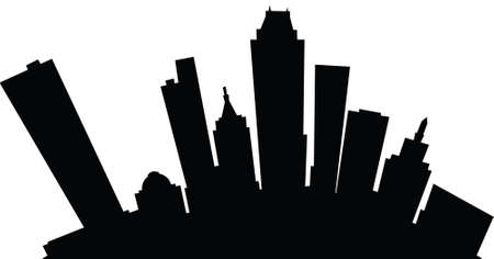 oklahoma: Cartoon skyline silhouette of the city of Tulsa, Oklahoma, USA. Illustration