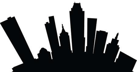 Cartoon skyline silhouette of the city of Tulsa, Oklahoma, USA. Illustration
