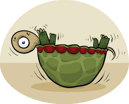 Een cartoon schildpad gevangen op zijn kop, op zijn rug. Vector Illustratie