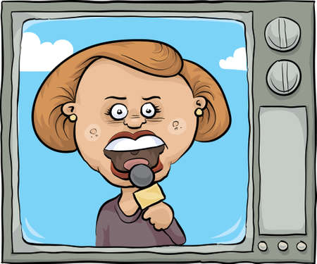 newscast: A cartoon news reporter on the screen of a retro cartoon tv. Illustration