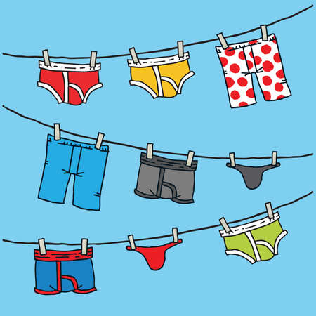 Cartoon of men's underwear hanging on a clothesline.  イラスト・ベクター素材